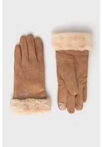 Liu Jo - Rękawiczki. Kolor: beżowy. Materiał: dzianina. Wzór: gładki