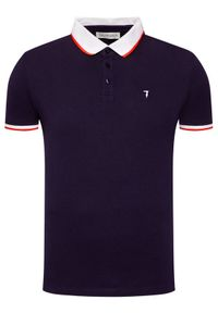 Trussardi Jeans - Trussardi Polo Piquet 52T00491 Granatowy Regular Fit. Typ kołnierza: polo. Kolor: niebieski