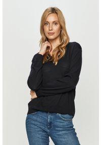 Niebieski sweter Armani Exchange z długim rękawem, na co dzień, casualowy, długi