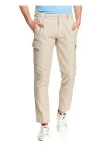 Beżowe spodnie TOP SECRET na lato, w kolorowe wzory, na co dzień