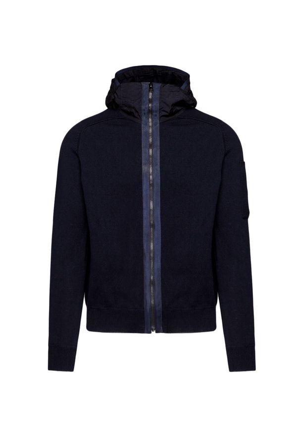 Niebieski sweter CP Company w kolorowe wzory, z kapturem, casualowy, na lato