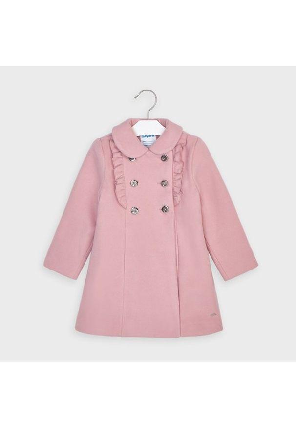 Mayoral Płaszcz 4409 Różowy Regular Fit. Kolor: różowy
