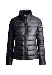 CANADA GOOSE - Czarna kurtka puchowa Cypress. Kolor: czarny. Materiał: puch. Długość rękawa: długi rękaw. Długość: długie. Wzór: aplikacja