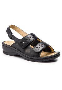 Czarne sandały Scholl z aplikacjami