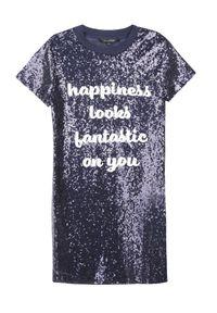 Niebieska sukienka TOP SECRET na jesień, z napisami, na imprezę, elegancka