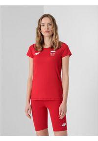 4f - Koszulka funkcyjna damska Polska - Tokio 2020. Kolor: czerwony. Materiał: materiał. Wzór: nadruk. Sezon: lato. Sport: fitness