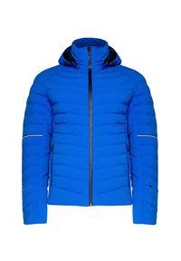 Niebieska kurtka narciarska Toni Sailer z kontrastowym kołnierzykiem, Primaloft, w prążki