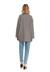 TOP SECRET - Krótki, dwurzędowy płaszcz damski w pepitkę. Kolor: czarny. Materiał: wełna. Długość: krótkie