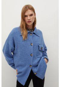 Niebieski sweter rozpinany mango z długim rękawem, długi