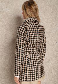 Renee - Czarno-Beżowy Płaszcz Kateina. Kolor: czarny. Materiał: materiał, poliester. Styl: klasyczny, elegancki