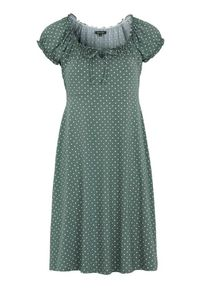 Happy Holly Sukienka w kropki Tessan zielony złamana biel female zielony/biały 44/46. Kolor: zielony, biały, wielokolorowy. Materiał: jersey, tkanina. Długość rękawa: krótki rękaw. Wzór: kropki