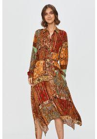 Wielokolorowa sukienka Desigual z długim rękawem, midi