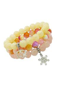 Sis&Me - CANDY; Bransoletka na gumce, żółta. Materiał: srebrne. Kolor: żółty. Wzór: aplikacja. Kamień szlachetny: jadeit