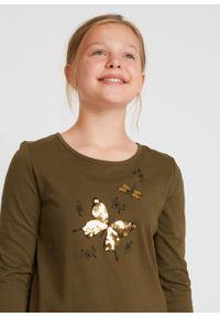 Shirt dziewczęcy z długim rękawem i tiulową wstawką bonprix ciemnooliwkowo-czarny. Kolor: zielony. Materiał: tiul. Długość rękawa: długi rękaw. Długość: długie. Wzór: aplikacja