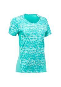 quechua - Koszulka turystyczna z krótkim rękawem - MH500 - damska. Kolor: turkusowy, niebieski, wielokolorowy. Materiał: syntetyk, tkanina, elastan. Długość rękawa: krótki rękaw. Długość: krótkie