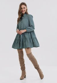 Born2be - Niebieska Sukienka Hellgem. Kolor: niebieski. Długość rękawa: długi rękaw. Typ sukienki: koszulowe, trapezowe. Styl: elegancki. Długość: mini