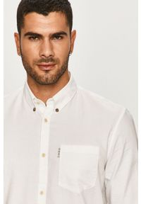 Biała koszula Guess Jeans casualowa, button down, na co dzień, długa